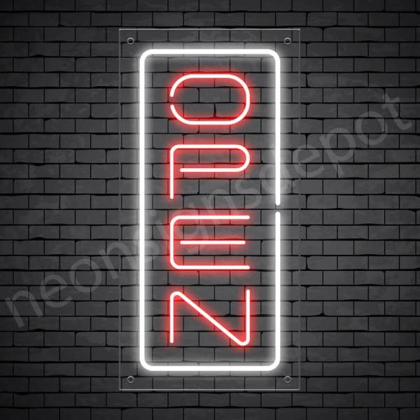 Vertical neon open sign red-white transparent bg