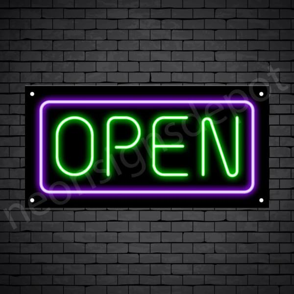 horizontal open neon sign -black back GREEN,PURPLE