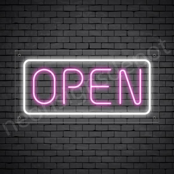 horizontal open neon sign - transparent back PINK,WHITE--