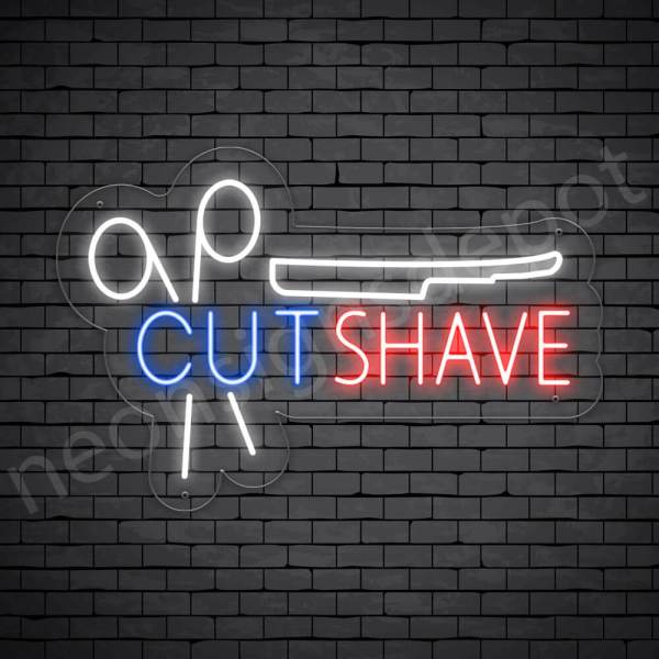 Barber Neon Sign Barbers Cut & Shave - Transparent