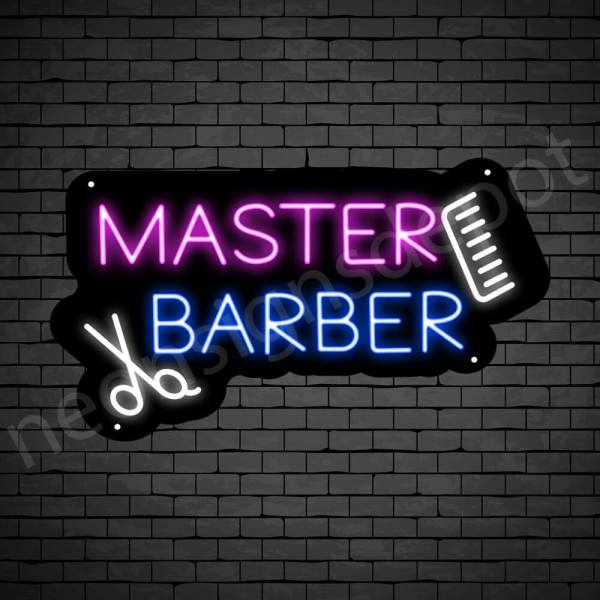 Barber Neon Sign Master Barbers Comb & scissor - Black