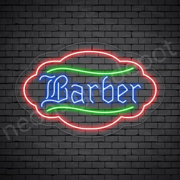 Barber Neon Sign Kings Haircut Transparent - 24x19