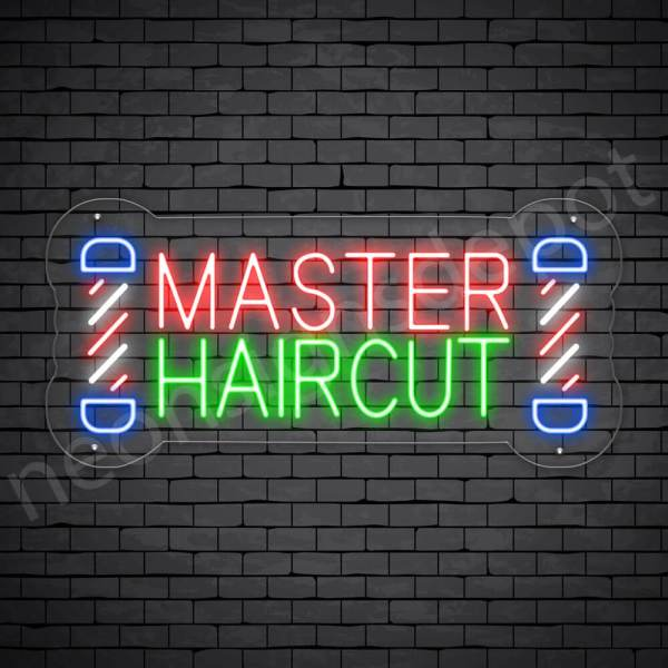 Barber Neon Sign Master Haircut - Transparent