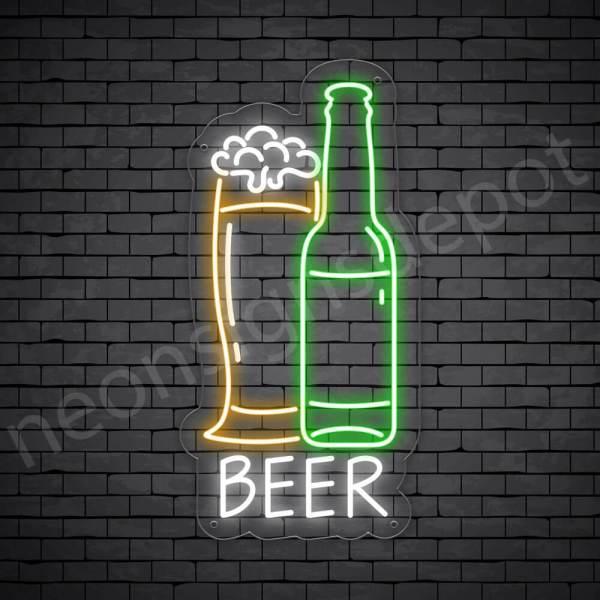 Beer Neon Sign Glass Bottle Transparent - 12x24