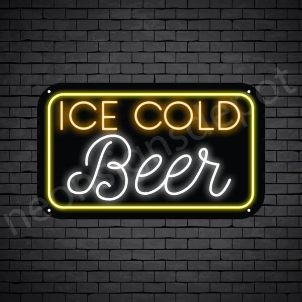 """Beer Neon Sign Ice Cold Beer- 24"""" x 14"""""""