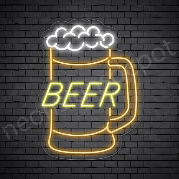 Beer Neon Sign Jar Beer - Transparent