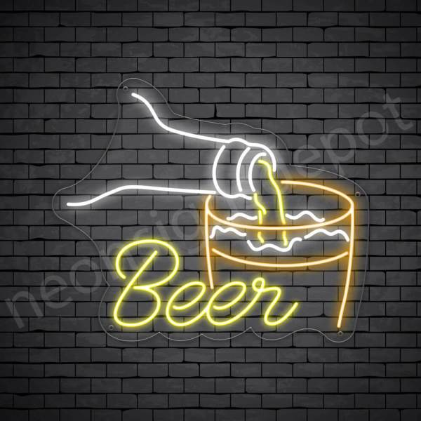 Beer Neon Sign Pour beer 24x20