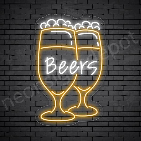 Beer Neon Sign Wine Glass Beer 16x24