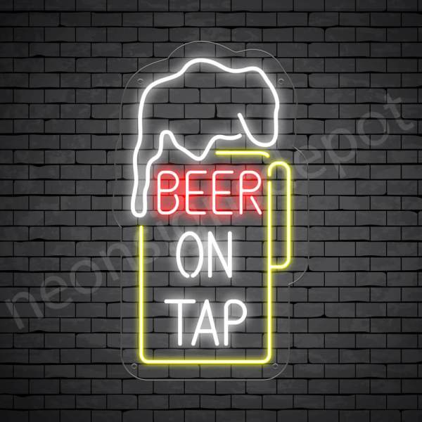 Beer On Tap Neon Sign - Transparent