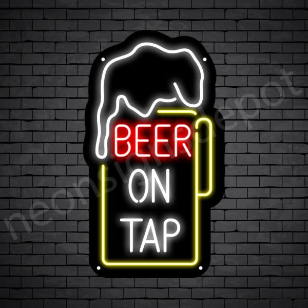 Beer On Tap Neon Sign - Black