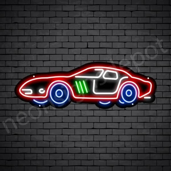 Car Neon Sign Classic Ferrari Black - 24x10