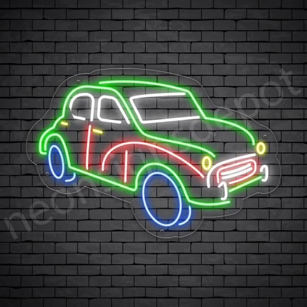 Car Neon Sign Classic Pick Up Transparent - 24x16
