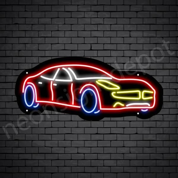Car Neon Sign Super Car Black - 24x10