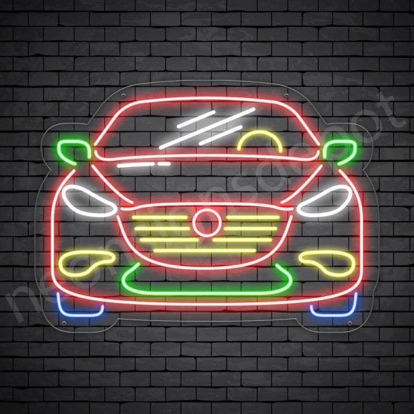Car Neon Sign Ferrari Front Car Transparent - 24x18