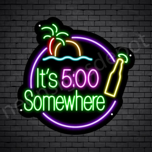 It's 5:00 Somewhere Beer Neon Bar Sign - Black