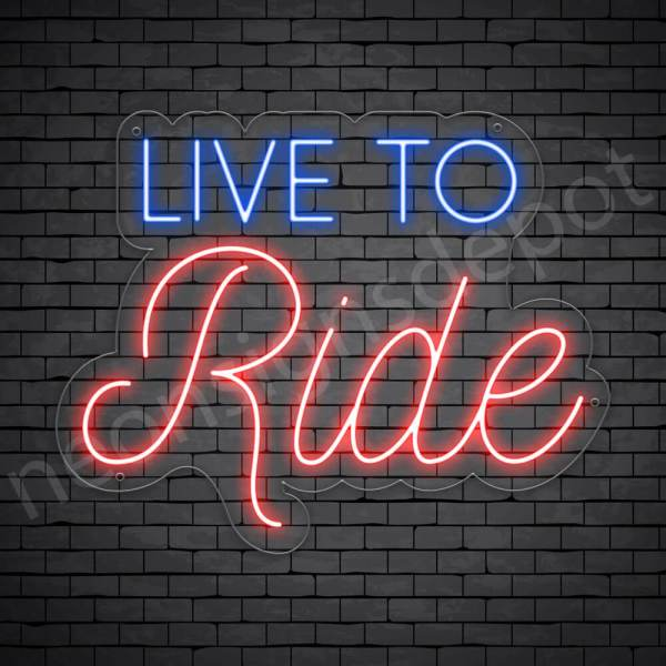 MOTORCYCLE NEON SIGN LIVE to RIDE Transparent - 24x19