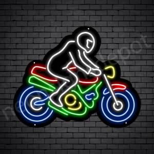 Motorcycle Neon Sign Motor Riders Bike Black - 24x18