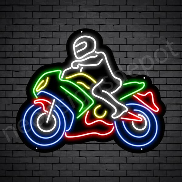 Motorcycle Neon Sign Bike Riders Black - 24x20