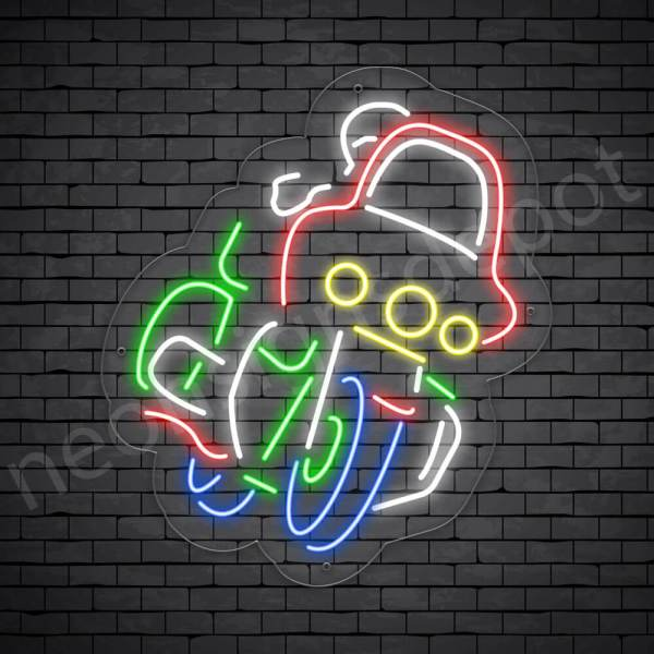 Motorcycle Neon Sign Motorcycle Bike Riders Kids Style Transparent - 21x24