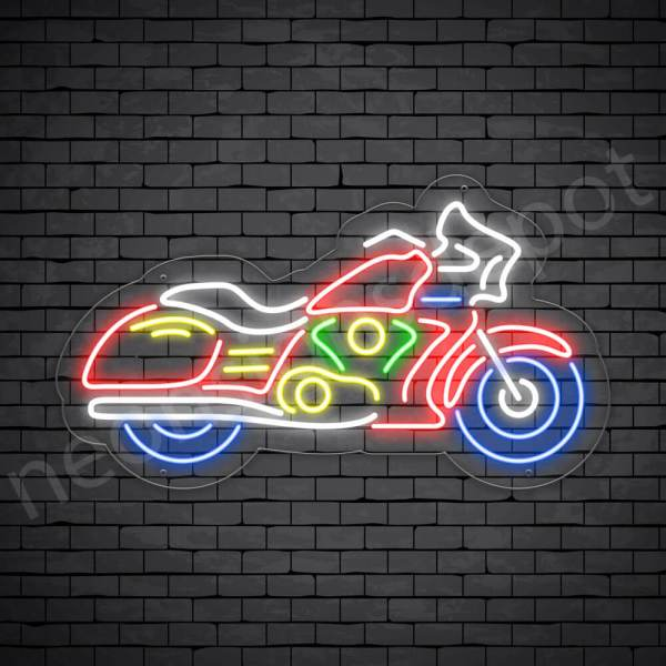 Motorcycle Neon Sign Riders Bike Transparent - 24x14