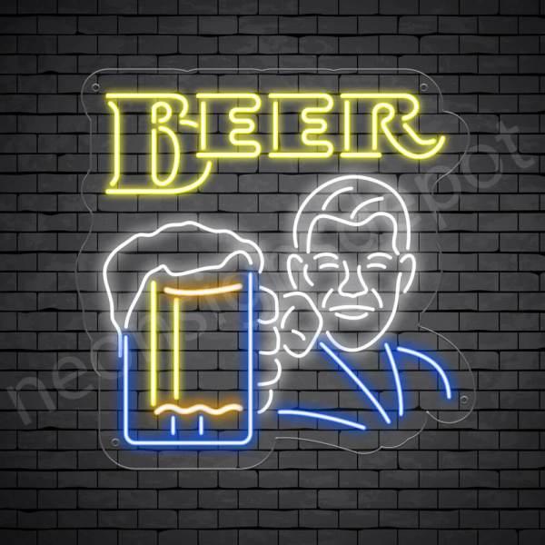 Man Holding Beer Glass Neon Bar Sign - Transparent