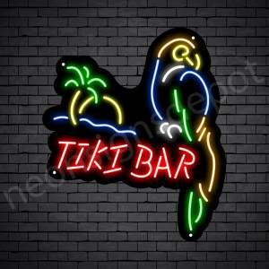 Tiki Bar Parrot Neon Bar Sign - Black