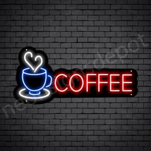 Coffee Neon Sign Coffee Heart Black 24x11