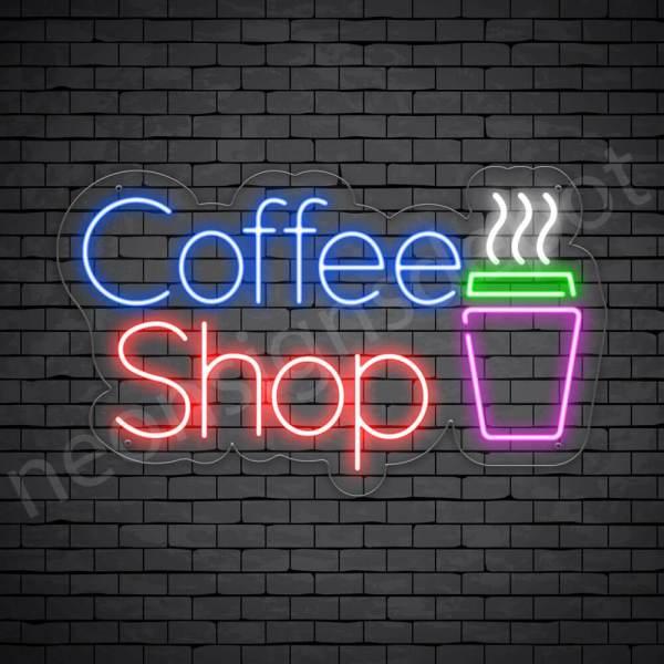 Coffee Neon Sign Coffee Shop Transparent 24x14