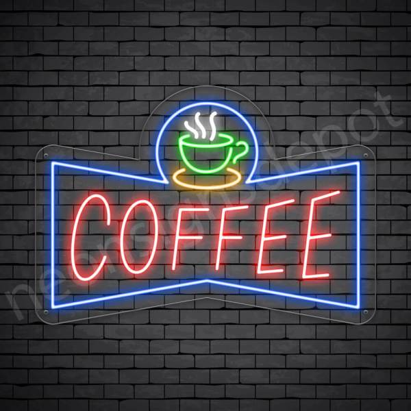Coffee Neon Sign Coffee Small Cup Transparent 24x17