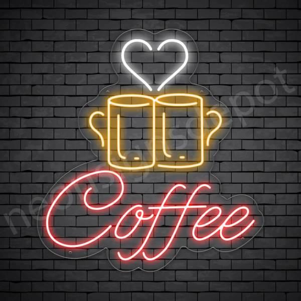Coffee Neon Sign Couple Mug Coffee Transparent 22x24