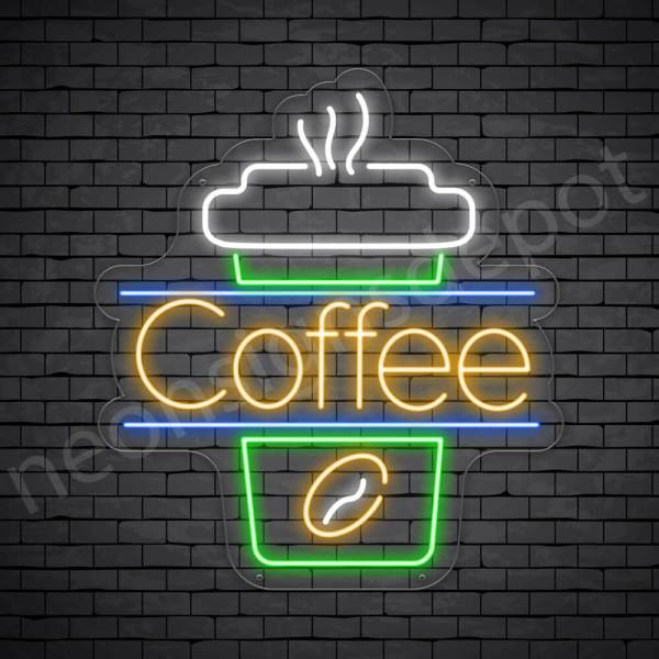 Coffee Neon Sign Cup Coffee Transparent 22x24