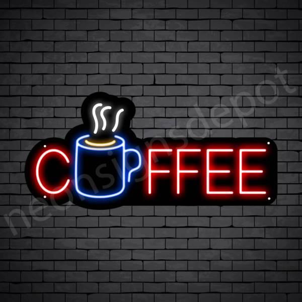 Coffee Neon Sign Hot Coffee Mug Black 24x11