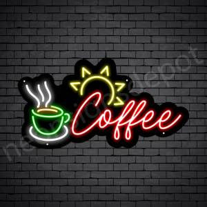 Coffee Neon Sign Sun Light Coffee Black 24x13