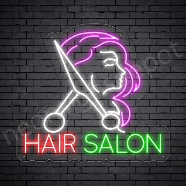 Hair Salon Neon Sign Cut Women Hair Salon Transparent 24x22