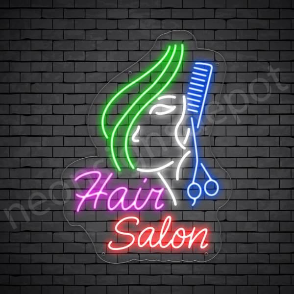 Hair Salon Neon Sign Hair Salon Women Long Hair Transparent 18x24