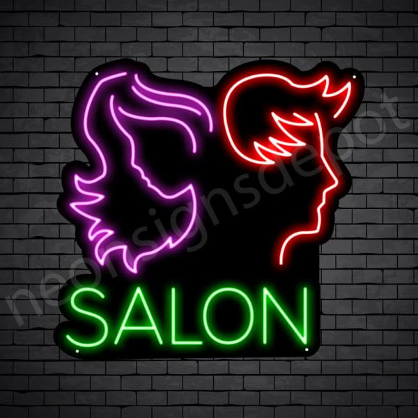 Hair Salon Neon Sign Men & Women Salon Black 24x23