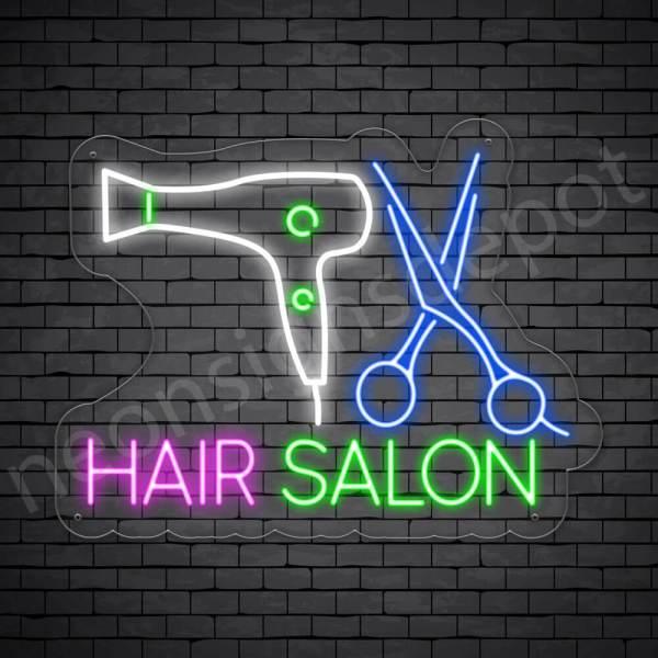 Hair Salon Neon Sign Scissor & Blower Hair Salon Transparent - 24x18