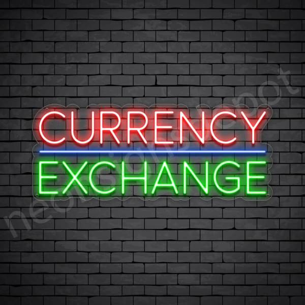 Currency Exchange Neon Sign - transparent