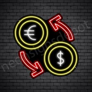 Dollar Euro Exchange Neon Sign - black