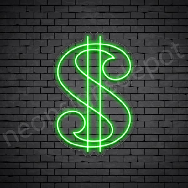 Dollar Symbol Neon Sign - transparent