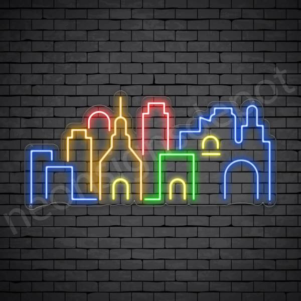 Down Town City Neon Sign Transparent