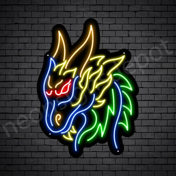 Dragon Neon Sign Barbarian Dragon Black 18x24