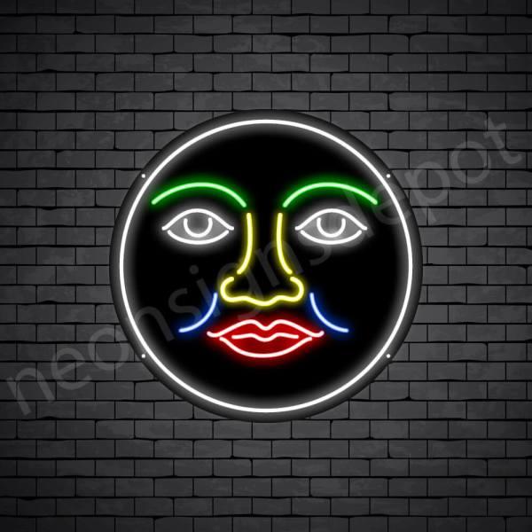 Face Full Moon Neon Sign - black