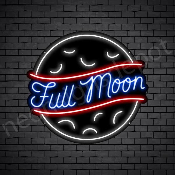 Full Moon Neon Sign-Black