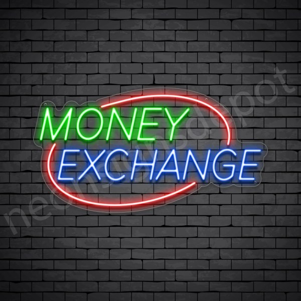 Money Exchange Oval Neon Sign - transparent