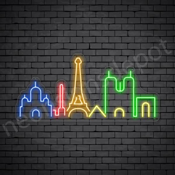 Paris Mesh City Neon Sign - transparent