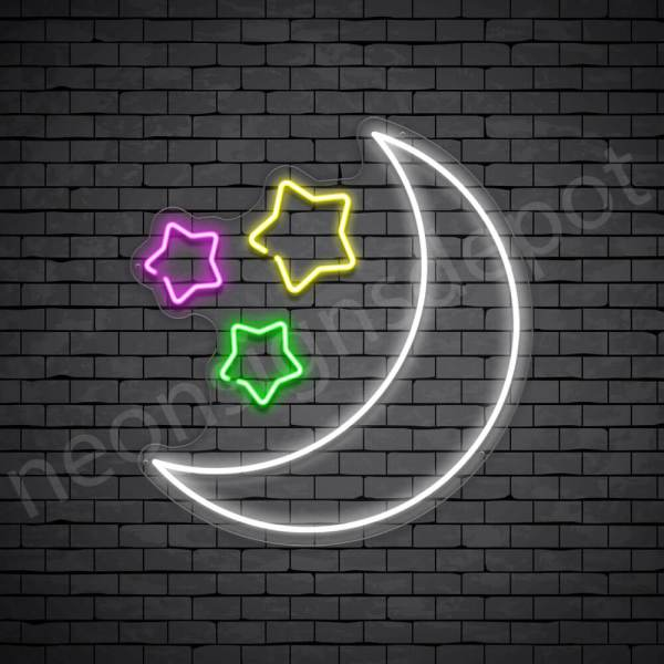 Star Moon Neon Sign - transparent