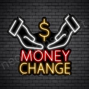 Two Hands Money Change Neon Sign - black