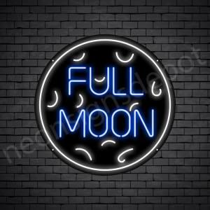 White Full Moon Neon Sign-Black