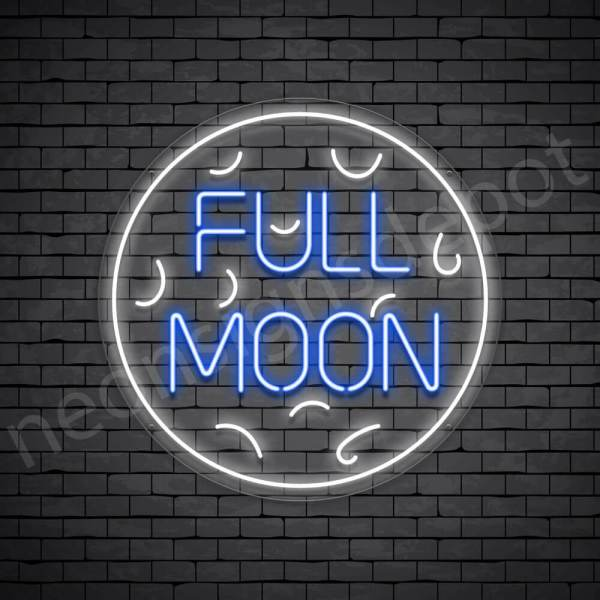 White Full Moon Neon Sign-Transparent
